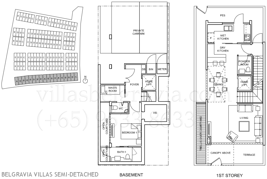 Belgravia villas freehold ang mo kio cluster houses for Semi attached house plans